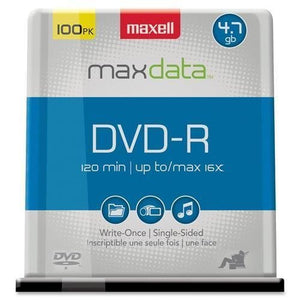 MAXELL 638014 DVD-R media 16x 4.7gb 100-pk branded spindle - NEW - Retail - 638014