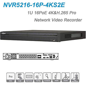 Dahua NVR 16Channel POE NVR5216-16P-4KS2E 16ch 1U 16PoE 4K&H.265 Up to 12MP Resolution for Preview and Playback Pro Network Video Recorder