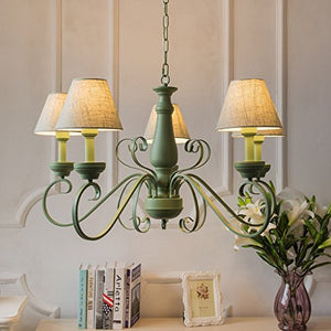 MILUCE Nordic Style Pastoral Mediterranean Living Room Bedroom Green Simple Fashion Fresh Iron Chandelier ( Color : A )