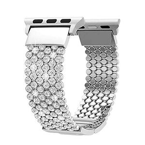 Compatible with Apple Watch Band 40mm 38mm iWatch Bands Series 5 4 3 2 1 Women Girls, Crystal Rhinestone Replacement Strap, Fresheracc Mesh Chain Jewelry Wristband (Silver 40mm/38mm)