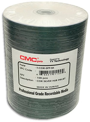 CMC Pro (Powered by TY Technology) SILVER INKJET HUB PRINTABLE 48X 80-Minute CD-R's, 100-Pak