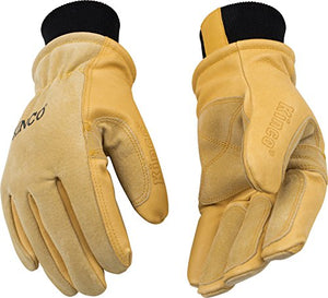 KINCO 901 Men's Pigskin Leather Ski Glove, HeatKeep Thermal Lining, Draylon Thread, X-Large, Golden