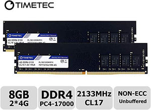 Timetec Hynix IC 8GB KIT(2x4GB) DDR4 2133MHz PC4-17000 Non ECC Unbuffered 1.2V CL15 1R8 Single Rank 288 Pin UDIMM Desktop PC Computer Memory Ram Module Upgrade (8GB KIT(2x4GB))