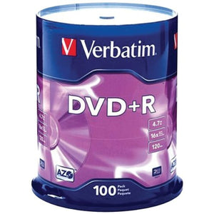 VER95098 - Verbatim AZO DVD+R 4.7GB 16X with Branded Surface - 100pk Spindle