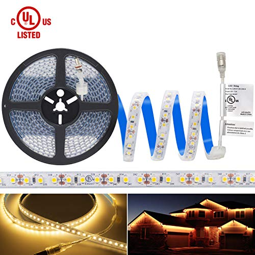 Waterproof Warm White LED Light Strip, Premium High Density 3528 - 16.4 Feet, 600 LEDs, 3000K, 164 Lumens per Foot. 12V DC. UL-Listed
