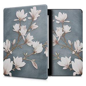 kwmobile Case Compatible with Kobo Aura ONE - PU e-Reader Cover - Magnolias Taupe/White/Blue Grey