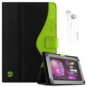 SOHO Portfolio Stand Nylon Detachable Flip Cover Case Lime NEON Green for Dell Latitude 10 Tablet Touch 10.1 inch + White Handsfree Earphone/Microphone Headphones
