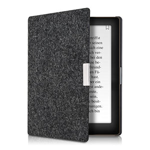 kwmobile Case Compatible with Kobo Aura Edition 1 - Book Style Felt Fabric Protective e-Reader Cover - Dark Grey