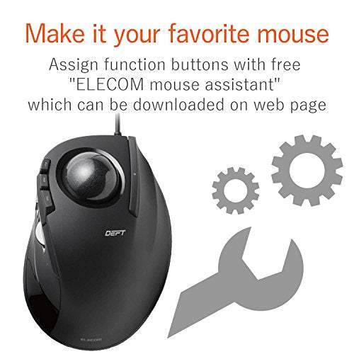 Elecom Wired Index Finger Operation Trackball Mouse, Ergonomic Design, 2.4 G Hz, 8 Buttons/Black/M Dt2