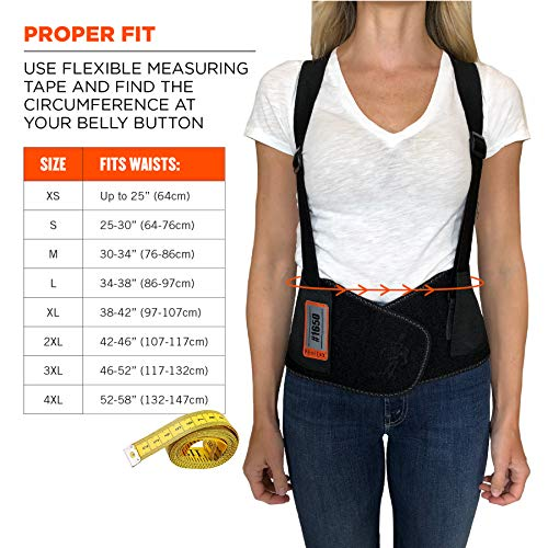 "Ergodyne ProFlex 1650 Back Support Belt, 7.5"" Elastic, Adjustable, Removeable Straps, XL"
