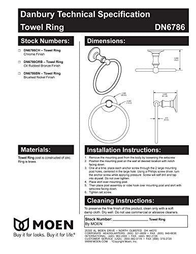 Moen DN6786BN Danbury Collection European Single Post Bathroom Hand Towel Ring, Brushed Nickel