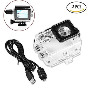 2Pcs Sport Camera Waterproof Case Accessories With Charging Cable for SJCAM SJ4000 / SJ7000 and More