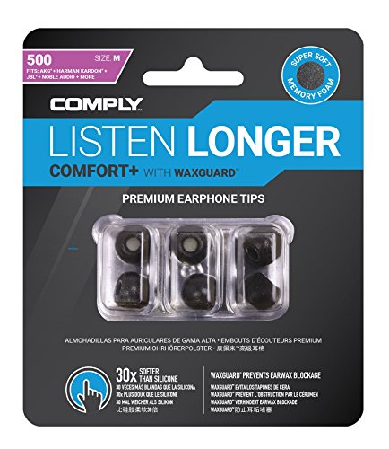 Comply Comfort Plus Tsx-500 Memory Foam Earphone Tips, Noise Reducing Replacement Earbud Tips, Secure Fit (Medium, 3 Pair)