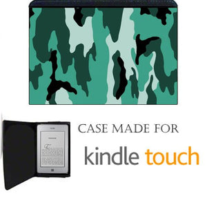 Green Camo Kindle Touch Fabric Notebook Case / Cover Great Gift Idea