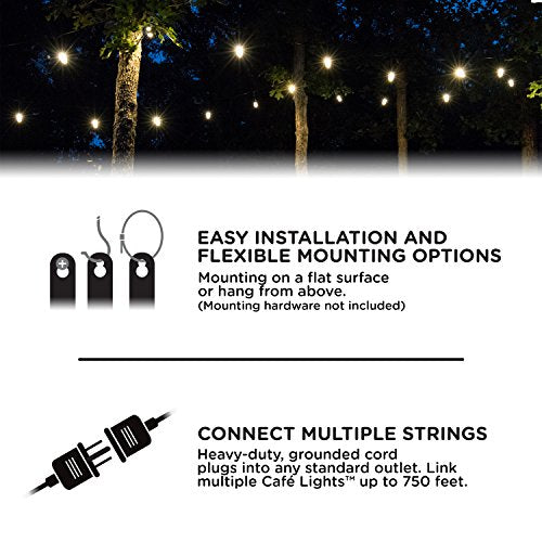 Enbrighten Classic LED Cafe String Lights, Black, 48 Foot Length, 24 Impact Resistant Lifetime Bulbs, Premium, Shatterproof, Weatherproof, Indoor/Outdoor, Commercial Grade, UL Listed, 31664