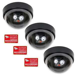 VideoSecu 3 Fake Dummy Dome Imitation Security Cameras Flashing LED Red Light Cost-effective CCTV Simulated Home Surveillance with Bonus Warning Stickers ME2
