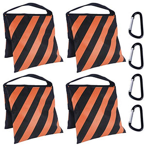 ABCCANOPY Sandbag Saddlebag Design 4 Weight Bags for Photo Video Studio Stand, Backyard,Outdoor Patio,Sports(Orange)
