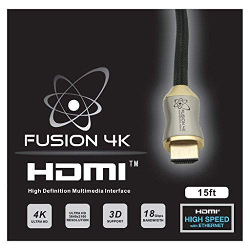 Fusion4K High Speed 4K HDMI Cable (4K @ 60Hz) - Professional Series (15 Feet)