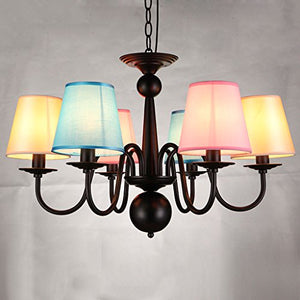 MILUCE Iron Chandelier Living Room Lamp Retro Simple European Style Restaurant Lamp Nordic Simple Pastoral Creative Light