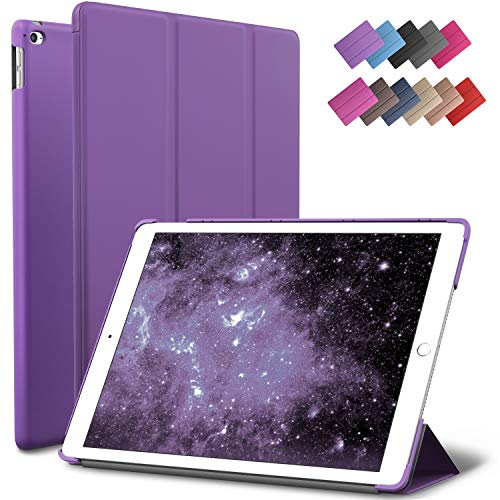 ROARTZ iPad Air 2 Case, Purple Slim Fit Smart Rubber Coated Folio Case Hard Shell Cover Light-Weight Auto Wake/Sleep for Apple iPad Air 2nd Generation A1566/A1567 Retina Display