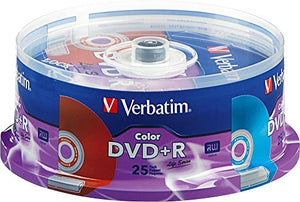 Verbatim Life Series DVD+R Spindle, Vibrant Color, Pack of 25