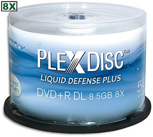 50-Pak PlexDisc 8.5GB 8X Liquid Defense Plus Glossy White Inkjet Hub Printable DL DVD+R's