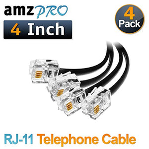 (4 Pack) 4 Inch Short Telephone Cable Rj11 Male to Male 4