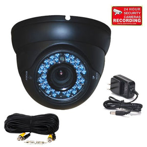 VideoSecu Outdoor CCD Dome Vandal Proof Security Camera Day Night Vision 480TVL 36 IR Infrared LEDs 4-9mm Zoom Focus Varifocal Lens for CCTV DVR Surveillance System with Power Supply and Cable BEQ