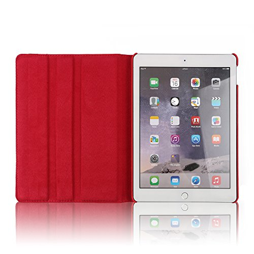 TechCode ipad air 2 Case, 360 Degrees Rotating Magnetic PU Leather with Stand Smart Case Cover for Apple iPad 6/iPad air 2 9.7 inch Tablet-Red