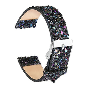 for Samsung Gear S3 Band, 22mm S3 Classic/Frontier Smart Watch Band, KuToo Leather Flash Glitter Bling Band Wristband Strap Replacement Band for Samsung Gear S3 (3D Glitter Black)