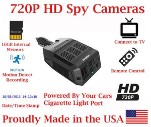 SecureGuard HD Car Power Inverter 720P Vehicle Fleet Spy Camera SD Card DVR Police Law Enforcement Nanny Camera