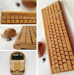 Smart Tech Handcrafted Natural Bamboo Wooden PC Wireless 2.4GHz Keyboard and Mouse Combo