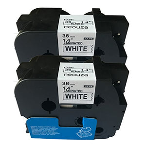 NEOUZA 2PK Compatible for Brother P-Touch Laminated TZe TZ 261 Label Tape Black on White Width 1.5