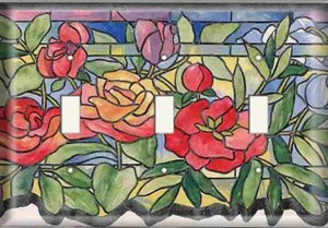 Three Switch Plate - Stained Glass Roses