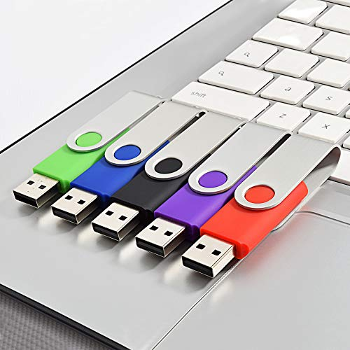 Kootion 5 X 16 GB USB Flash Drive 16 gb Thumb Drive Memory Stick Swivel Keychain Design Mixcolor