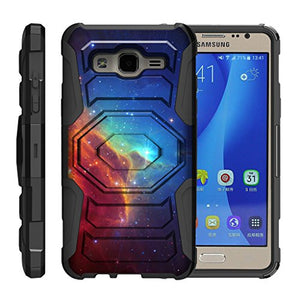 TurtleArmor | Compatible with Samsung Galaxy On5 Case | G550 | G5500 [Octo Guard] Dual Layer Case Holster Belt Clip Sturdy Kickstand Cover - Colorful Nebula Galaxy