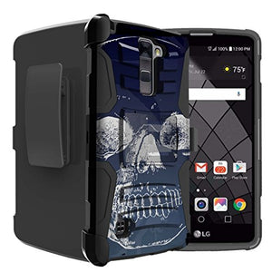Untouchble Case for LG Stylus 2 Plus Holster Case| LG Stylo 2 Plus Case [Heavy Duty Clip] Shock Absorbing Holster Clip, Swivel Clip, 2 Piece Case with Built in Kickstand - White Blue Skull