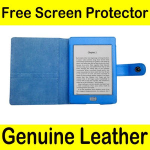 Mochie (tm) Genuine Leather Pouch Case Cover Jacket for Amazon Kindle Touch Blue