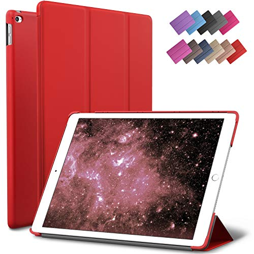 ROARTZ iPad Air 2 Case, Red Slim Fit Smart Rubber Coated Folio Case Hard Shell Cover Light-Weight Auto Wake/Sleep for Apple iPad Air 2nd Generation A1566/A1567 Retina Display