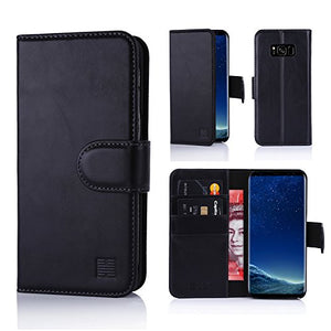 32nd Real Leather Wallet Case for Samsung Galaxy S8 Plus, with Card Slots and Magnetic Closure Tab - Black