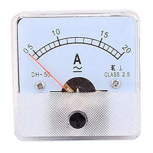 uxcell DH50 Pointer Needle AC/DC 0-20A Current Tester Panel Analog Ammeter 50mm x 50mm