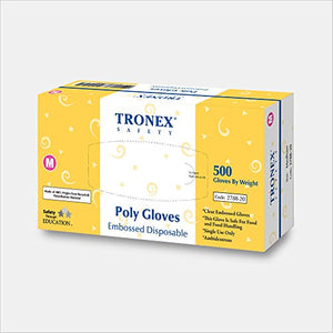 Tronex PE Disposable Gloves, Powder-Free, Food Safe, Clear, X-Small (2000)