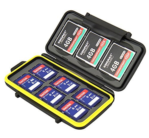 JJC MC-SD6CF3 Rugged Water-Resistant Memory Card Case fits 3x CF / 6x SD Cards, Black