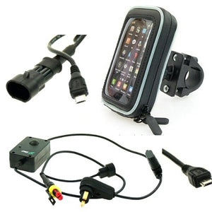 Motorcycle Mobile Phone Mount Kit Hella/Straight Micro Usb (Sku 12854)
