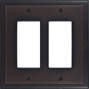 Questech Ambient Satin Metal Composite Switch Plate/Wall Plate/Outlet Cover (Double Decorator, Oil Rubbed Bronze)