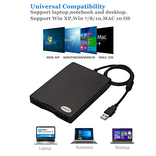 "3.5"" USB Floppy Disk Drive External Portable 1.44 MB FDD for PC Windows 2000/XP/Vista/Windows 7/8/10 +Dustproof Scratch-Resistant External Bag Case,No External Driver,Plug and Play"