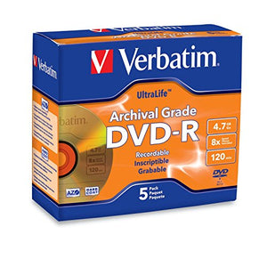 Verbatim DVD-R 4.7GB 8X UltraLife Gold Archival Grade - Branded Surface & Hard Coat - 5pk Jewel Case - 96320