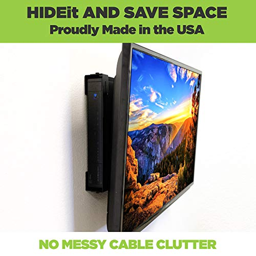 HIDEit Uni-LS Mount - Adjustable Large and Slim Wall Mount for Cable Boxes, Satellite Receivers, DVRs, Security NVRs and Other A/V Equipment - Made in The USA and Trusted Worldwide Since 2009