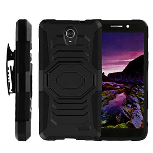 TurtleArmor | Compatible with ZTE Avid Plus Case | ZTE Avid Trio Case | ZTE ZFive 2 Case [Octo Guard] Dual Layer Hybrid Armor Hard Belt Clip Holster Impact Kickstand Case Animal - Black