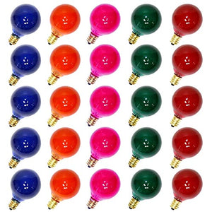 25 Pack Multicolor G40 Christmas Replacement Light Bulbs, UL Listed 5 Watt E12 C7 Candelabra Base Glass Bulbs with Transparent Coating, Easily Screw in Strings Spools Strands